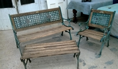 SOLD  patio park bench set