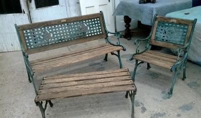 SOLD  patio park bench set