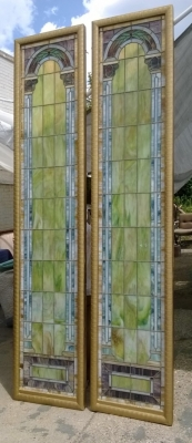 SOLD   pair large stained glass windows
