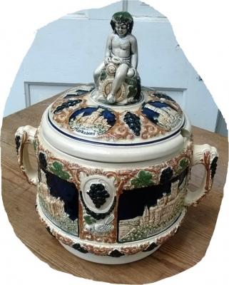 ironstone cherub container