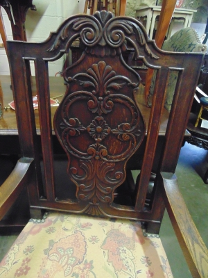 12 13C130 PAIR CARVED FRENCH OAK ARM CHAIRS WITH CURVED STRETCHERS (1)