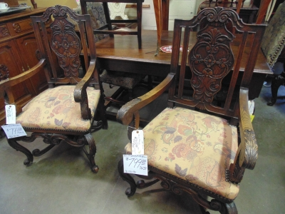 12 13C130 PAIR CARVED FRENCH OAK ARM CHAIRS WITH CURVED STRETCHERS (2)