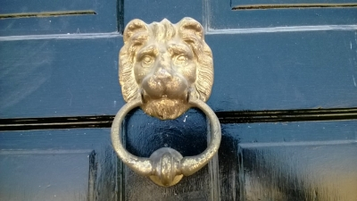 14I22314 PAINTED ENTRY DOOR WITH LION HEAD KNOCKER  (2).jpg