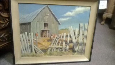 14I22602 BARN AND FENCE LINE PAINTING BY HER JACK  FICKLEN.jpg