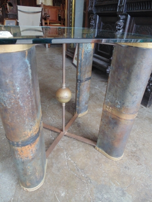 36 83639 COPPER AND GLASS INDUSTRIAL MODERN COFFEE TABLE (1)
