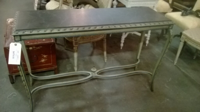 14I29310 FAUX MARBLE TOP GREEN CONSOLE.jpg