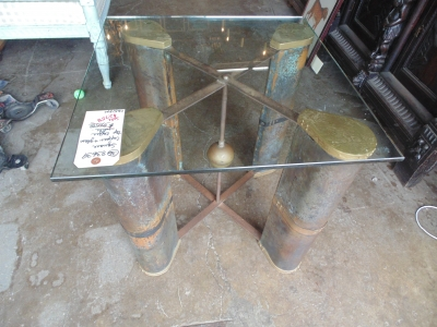 36 83639 COPPER AND GLASS INDUSTRIAL MODERN COFFEE TABLE (2)