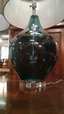 14I30100 PAIR OF MEDIUM GREEN GLASS TABLE LAMPS  (2).jpg