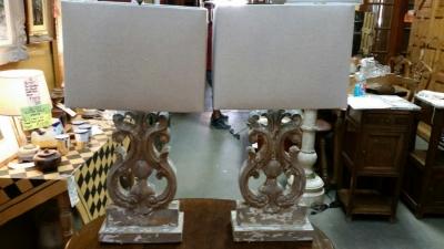 14I30101 PAIR OF FLEUR DE LIS WOOD TABLE LAMPS (1).jpg
