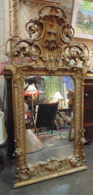 36 MIRROR TO GOLD MARBLE TOP CONSOLE