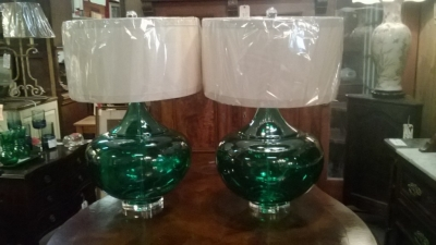 14I30101 PAIR OF LARGE GREEN GLASS LAMPS (1).jpg