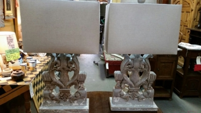 14I30111 PAIR OF LARGE FRET CARVED WOOD TABLE LAMPS  .jpg
