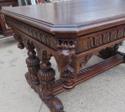 14A01007 FRENCH CARVED OAK LIBRARY TABLE WITH LIONS HEADS AND GADROONING (2)