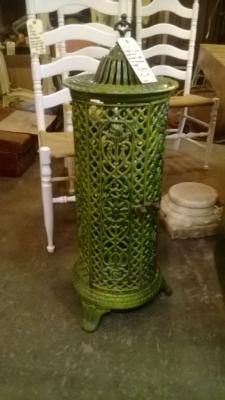 36-84229-GREEN ENAMELED HEATER STOVE .jpg