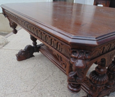 14A01007 FRENCH CARVED OAK LIBRARY TABLE WITH LIONS HEADS AND GADROONING (6)