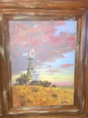 14J06400 VICTOR ARMSTRONG OIL PAINTING OF TEXAS SUNSET WITH WINDMILL.jpg