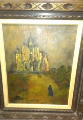 14J11600 OIL PAINTING OF WOMAN APPROACHING CATHEDRAL BY BETTY CHAMBERS.jpg