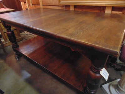 14C10200A RUSTIC OAK KITCHEN ISLAND TYPE TABLE WITH LOWER SHELF (5)