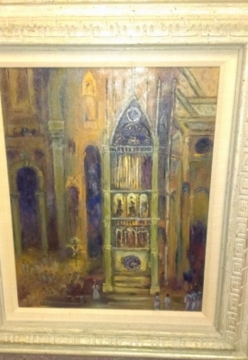 14J11601 OIL PAINTING OF CATHEDRAL INTERIOR BY BETTY CHAMBERS.jpg