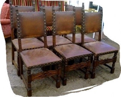 14J15009 SET OF 6 RUSTIC CHAIRS WITH LEATHER AND IRON TACKS (1).jpg