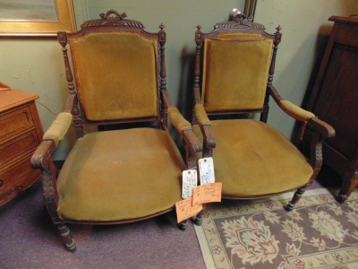 SOLD!    13J24040 PAIR FRENCH ARM CHAIRS 199 DOLLARS