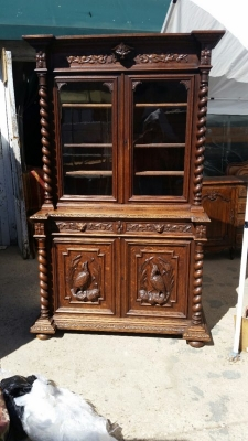 14J15003 BARLEY TWIST BOOKCASE HUNTBOARD WITH CARVED PEDIMENT  (1).jpg