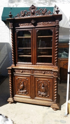 14J15003 BARLEY TWIST BOOKCASE HUNTBOARD WITH CARVED PEDIMENT  (4).jpg