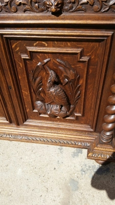 14J15003 BARLEY TWIST BOOKCASE HUNTBOARD WITH CARVED PEDIMENT  (6).jpg