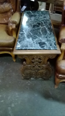 14J22027 MARBLE TOP CARVED WALNUT COFFEE TABLE (1).jpg