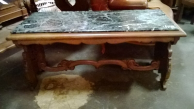 14J22027 MARBLE TOP CARVED WALNUT COFFEE TABLE (3).jpg