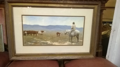 36-84413 VINTAGE ARTISIT SIGNED COWBOY WATER COLOR  (1).jpg