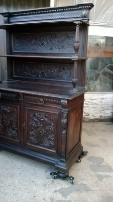14K12001 FRENCH CARVED DARK OAK HIGHBACK SERVER (4).jpg