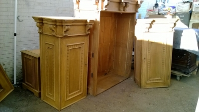 14K12005 LARGE ANTIQUE EUROPEAN CABINET IN PARTS .jpg