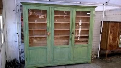 SOLD   36 PAINTED PINE BOOKCASE CABINET (1).jpg