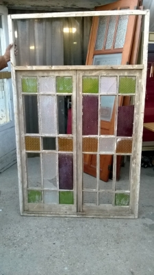 14K190 LARGE STAINED GLASS WINDOW MISSING MANY PANES (1).jpg