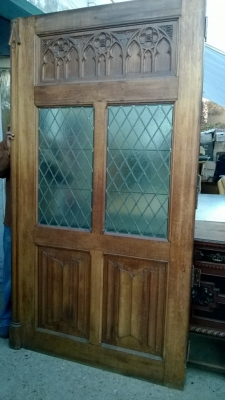 SOLD    36 TALL GOTHIC DOOR WITH STAINED GLASS WINDOWS (1).jpg