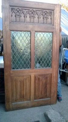 SOLD      36 TALL GOTHIC DOOR WITH STAINED GLASS WINDOWS (2).jpg