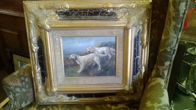 14L01500 PAIR OF HUNTDOGS OIL PAINTING.jpg