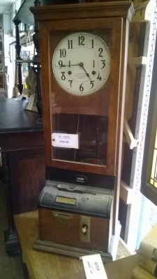 14H25582 ANTIQUE OAK TIME CLOCK.jpg