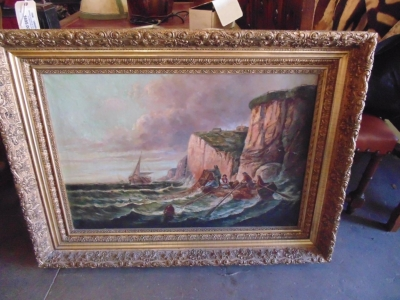 14C17110 LARGE OIL PAINTING OF SHIPS AND  CLIFFS VERY OLD (2)
