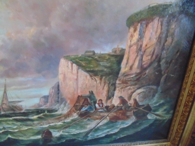 14C17110 LARGE OIL PAINTING OF SHIPS AND  CLIFFS VERY OLD (4)