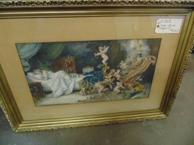 2003 Lithograph of cherubs and lady (2)