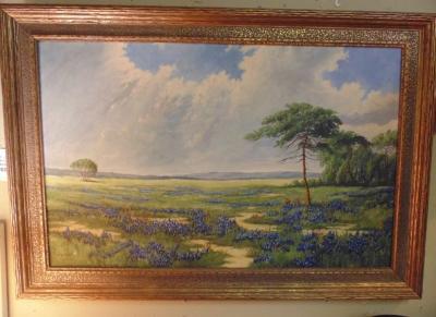 13D360 OIL PAINTING OF BLUE BONNETS BY H. EINFELDT  $795.00