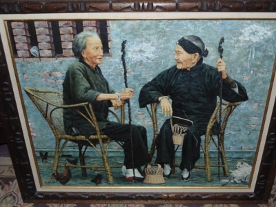 13C11160 Awesome Oil Painting of Two chinese Ladies need some restoration (3).JPG