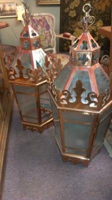 14e large copper lanterns
