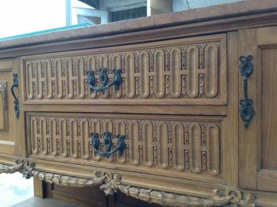 14C06020 LOUIS XVI CARVED OAK DINING TABLE.JPG