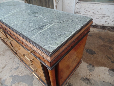 14B04005 ITALIAN BULED MARBLE TOP COMMODE WITH MIRROR (2)