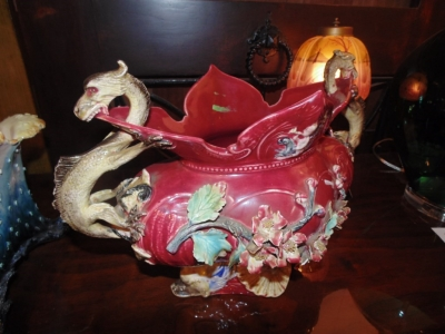 14B15018 LARGE MAJOLICA CENTERPIECE WITH DRAGONS  (2)