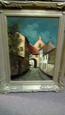 15A06119 FRAMED VILLAGE OIL PAINTING .jpg