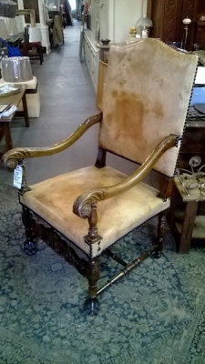 36-85012 LEATHER AND WOOD LOUIS XIV ARM CHAIR .jpg